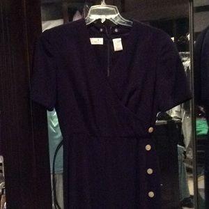 Navy Liz Claiborne dress, short sleeve, belt, 8